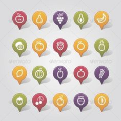 Fruits Mapping Pins Icons  #graphicriver