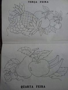Peacock Coloring Pages, Fruit Coloring Pages, Baby Embroidery, Machine Embroidery, Embroidery Designs, Word Drawings, Easy Drawings, Japanese Gift Wrapping, Fruits Drawing