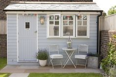 Shed Plans - little backyard shed/studio. Totally re-doing my shed! Now You Can Build ANY Shed In A Weekend Even If You've Zero Woodworking Experience! Painted Garden Sheds, Painted Shed, Shed Office, Garden Office, Shed Colours, Colors, Backyard Sheds, Backyard Studio, Garden Studio