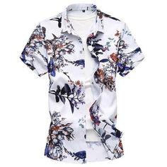 Camisa Masculina Summer New Brand Men Shirt Slim Fit Half Sleeve Newsp – eosew Men's Fashion, Mens Sweatshirts, Men Shirts, Floral Print Shirt, Casual Street Style, Mens Clothing Styles, Casual Shirts For Men, Printed Shirts, Shirt Style