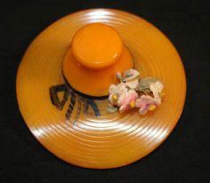 Wonderful Butterscotch Bakelite Hat, 1940's, Rare, Bakelite Brooch, Bakelite Pin, Figural Bakelite