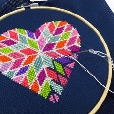 My Valentine's Day heart cross stitch pattern is almost finished! WIP