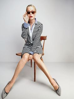 J.Crew women's striped polo sweater-dress, boy shirt in bold stripe, Irving sunglasses and Gemma flats in stripe.