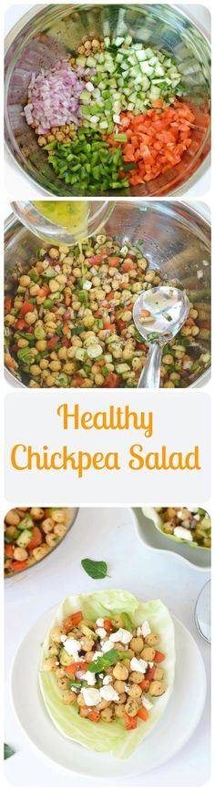 Healthy and refreshing #chickpeas #salad prepared with fresh veggies and tossed in a lemon -olive oil #dressing.