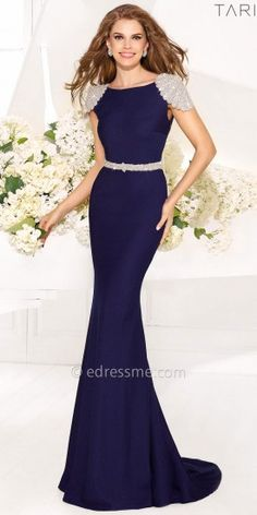 A magnificent evening dress by Tarik Ediz. This long dress features bead epaulettes that sparkle on your shoulders and ....Price - $1,040.00 - AG5d0BLW