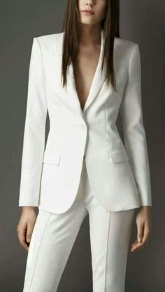 Dazzling Wedding Dresses The Latest Trends And Ideas. Spectacular Wedding Dresses The Latest Trends And Ideas. White Pant Suit Women, White Suits, Suits For Women, Clothes For Women, White Tux, Business Outfits, Business Attire, Office Outfits, Work Outfits