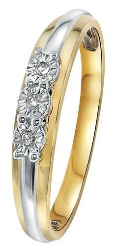 Bicolor gouden ring met diamant 0,03ct - Lucardi.nl