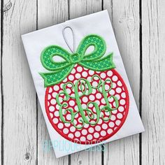 Monogram Ornament with Bow Digital Christmas by AppliqueBliss