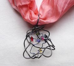 Rainbow Cloud Wire Wrapped Scarf Pendant with colorful crystals by MaikesMarvels on Etsy