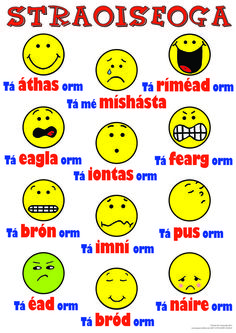 Straoiseoga as Gaeilge. Emoticons in Irish. Class Rules Poster, Gaelic Words, Irish Language, Irish Quotes, Irish Memes, Irish Culture, Irish American, Irish Dance, Classroom Displays