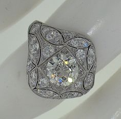 STUNNING Edwardian Platinum Diamond Engagement Ring, Circa 1915. $8,500.00, via Etsy.