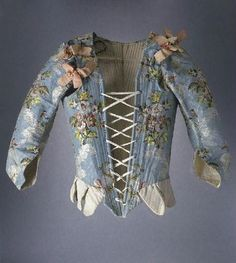 Stays with sleeves, silk taffeta embroidered with silk, stiffened with whalebone and lined with cotton or linen, 1750-60.