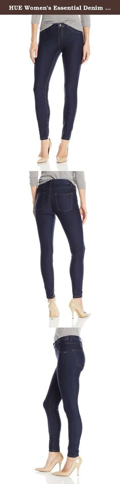 HUE Women's Essential Denim Leggings, Deep Indigo Wash, XL. HUE essential denim legging offers casual jean style with comfortable stretch. Featuring contrast top stitching and brushed gold hardware, these cotton blend leggings provide a real jeans appearance with amazing style. Functional back pockets, faux front pockets and faux fly. Inseam 30 inch.