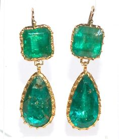 High karat gold emerald earrings