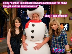 "Gibby: ""I asked Sam if I could wear a costume on the show tonight and she said snowman.""( my favorite characters) Victorious Nickelodeon, Icarly And Victorious, Old Kids Shows, Old Shows, Movies Showing, Movies And Tv Shows, Drake And Josh, Nickelodeon Shows, Sam And Cat"