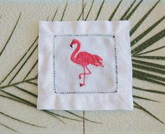 Flamingo embroidered cocktail napkins, table linens, outdoor entertaining…