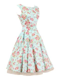 Floral Printed Patchwork Vintage Bowknot Classical Round Neck Skater Dress