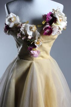 Off White tulle dress with silk flower trimmed top