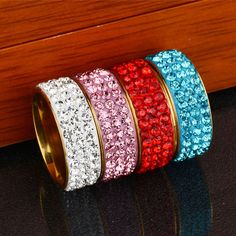 LNRRABC 1PC Fashion Charming Trendy Colorful Full Crystal Stainless Steel Party Rings Engagement Rings Wedding Gifts