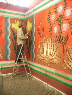 Art wall work in progress. Menso Groeneveld for Gijs Frieling Painted Chairs, Painted Furniture, Mural Art, Wall Murals, Decoration, Art Decor, Art Inspo, Interior And Exterior, Folk Art