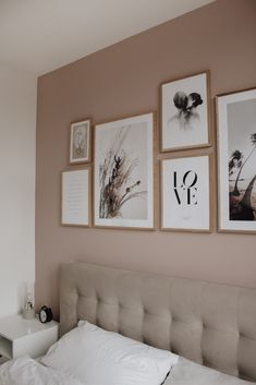 Bedroom Gallery Wall on a dusty pink wall. Light bedroom, velvet bed, wood, scandinavian living, scandi interior / picture wall in the bedroom wall color rose Bedroom Gallery Wall - A Classy Mess Pink Bedroom Walls, Scandi Bedroom, Bedroom Colors, Bedroom Decor, Decor Room, Home Decor, Dusty Pink Bedroom, Scandinavian Interior Bedroom, Rose Bedroom