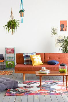 Mid Century Sofa in Orange http://uoeur.pe/uohomewares #Home #UrbanOutfittersEurope