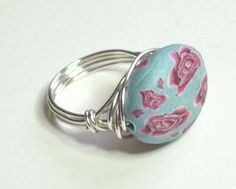Red Pink Blue Polymer Clay Rose Flower Silver by leatherlacenbeads