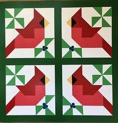 Four Cardinals Barn Quilt - Ohio Barn Quilts Quilt Square Patterns, Barn Quilt Patterns, Square Quilt, Barn Quilt Designs, Quilting Designs, Small Quilts, Mini Quilts, Bird Quilt Blocks, Vogel Quilt
