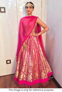 Bollywood Style Sonam Kapoor Net and Joya Silk Lehenga In Pink Colour NC1828