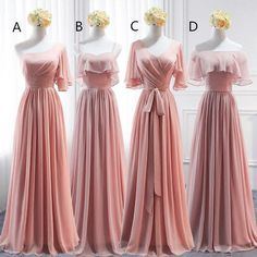 Long bridesmaid dress mismatched bridesmaid dress chiffon bridesmaid dress dress for wedding lace up bridesmaid dress floor length bridesmaid dress babys breath wreath for country wedding Cute Formal Dresses, Pink Party Dresses, Wedding Party Dresses, Simple Dresses, Pretty Dresses, Beautiful Dresses, Prom Dresses, Wedding Lace, Long Gown Simple