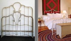 Antique iron bed we converted to modern California King size and as it appeared in Architectural Digest