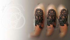 Lion Fu tatouage réaliste - par Bertrand