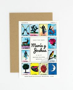 Destination Wedding Save the Date Loteria by JPstationery on Etsy