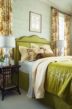 grasscloth + green headboard/love this room Master Bedroom, Bedroom Decor, Bedroom Ideas, Bedroom Bed, Bedroom Designs, Bedroom Inspiration, Dream Bedroom, Bed Room, Design Inspiration
