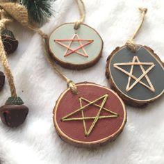 Your place to buy and sell all things handmade Star Ornament. Christmas Projects, Christmas Holidays, Christmas Crafts, Christmas Decorations, Rustic Christmas, Wood Ornaments, Xmas Ornaments, Paper Towel Roll Crafts, Wood Burning Crafts