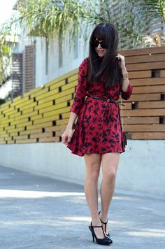 Oxblood print dress. | MODA CAPITAL