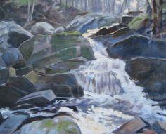 Hemlock Gorge Torrent. Oil painting by Peter Barnett.