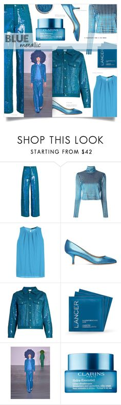 """Blue metallic"" by greengoblinz ❤ liked on Polyvore featuring Ashish, House of Holland, Etro, Giuseppe Zanotti, Lancer Dermatology, Clarins, monochrome, Blue, metallic and polyvoreeditorial"
