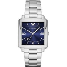 Men's Emporio Armani Square Bracelet Watch, 43Mm ($245) ❤ liked on Polyvore featuring men's fashion, men's jewelry, men's watches, men's blue dial watches, mens watches jewelry, stainless steel mens watches, mens square watches and emporio armani mens watches