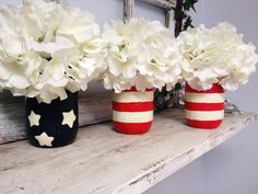 Stars and Stripes Mason Jars. Perfect for Gifts, Home Decorations, Parties, Vases, and MORE
