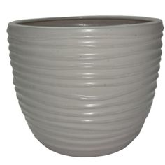 allen + roth 10.63-in x 9.72-in White Ceramic Planter