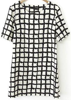 Black White Plaid Short Sleeve Straight Dress - Fashion Clothing, Latest Street Fashion At Abaday.com