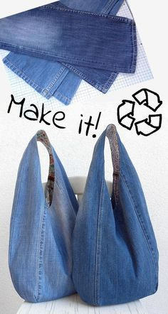 Denim Bags From Jeans, Artisanats Denim, Denim Purse, Diy Old Jeans, Denim Fabric, Ripped Jeans, White Jeans, Skinny Jeans, Jean Crafts
