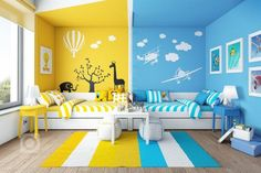Home Colorful Kids Room Design Boy And Girl Shared Room, Boy Girl Room, Baby Boy Rooms, Room Baby, Kids Bedroom Designs, Kids Room Design, Kids Bedroom Ideas, Kids Room Bed, Playroom Ideas