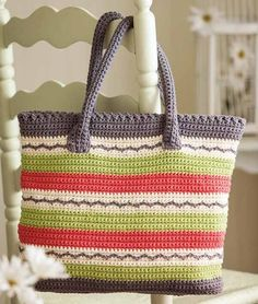 Bright and Sunny Crochet Tote Bag Pattern to download - crochet patterns - aff link