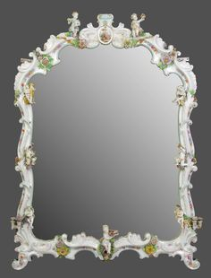 German Hand Painted Porcelain Mirror With Applied Flowers   c.19th Century