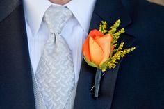 Orange floral boutonniere