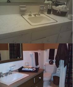 The bathroom renovation is finally finished! Tile Painting, Painting Tips, House Renovations, Home Remodeling, Bathroom Renos, Bathroom Ideas, Bath Decor, Home Hacks, Rental Property