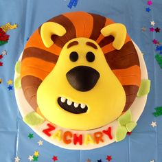 Zach's 1st birthday cake - Raa Raa the Noisy Lion from CBeebies. Great decor for birthdays or a party.