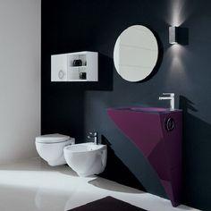 black, white and violet bathroom
